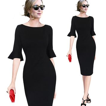 Flare Trumpet Bell Sleeve Dress