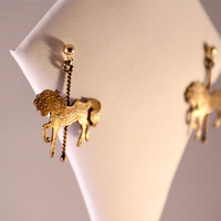 Carousel Horse Earrings- Yellow Bronze Horse- Goldfilled Twisted Poles- Goldfilled Ear Posts- Antique Patina Finish