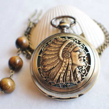 Native American Indian pocket watch, men's mechanical pocket watch with indian chief head mounted on front cover of double open cover