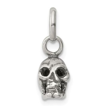 925 Sterling Silver Antiqued Skull Charm and Pendant