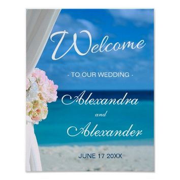 Welcome Sign | Floral Blue Ocean Beach Wedding