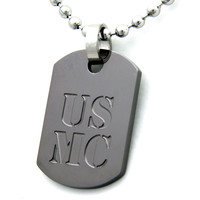 US Marines Dog Tag Gunmetal Pendant Necklace