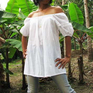 Sweet summerLoose smock blouse white one size fit by cocoricooo