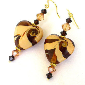Topaz heart earrings, lampwork glass and Swarovski crystal, amber, coffee and cream earrings, caramel cappucino