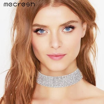 Mecresh 8 Row Crystal Rhinestone Bridal Choker Necklace Silver Plated Wedding Jewelry Party Prom Christmas Gift MXL061