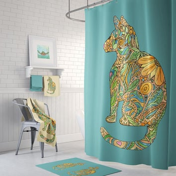 Calico Cat with Blue Shower Curtain Set -  teal blue and gold - cat lover's curtain, yellow, beautiful floral detail, extra long