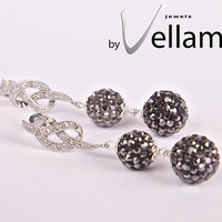Dangling stud rhodium plated earrings with elegant knot with white CZ crystals and black diamond dark gray crystal balls