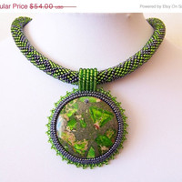 CHRISTMAS SALE SALE - Beadwork Bead Embroidery Pendant Necklace with Green Sea Sediment Jasper - Green Song - green - grey