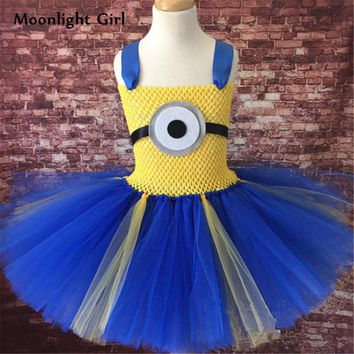 Cute Tutu Dress Cosplay Minion Cartoon Costumes Girls Halloween Costume For Kids Clothes Girl Birthday Party Dresses Up PQ004
