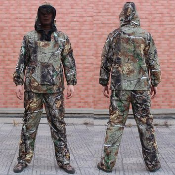 Men's Summer Outdoor Hunting Suit Fishing ClothesTwo Pieces Clothing Camo Anti-mosquito Hoodie Pants Sets Fishing Shirt Pants