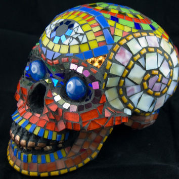 Lifesize Dia de los Muertos Skull Stained Glass by Jiveworks