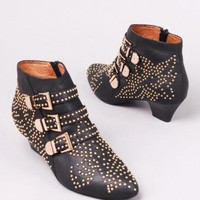 Jeffrey Campbell Starburst Leather Ankle Boots in Black at AKIRA | Studded Boots | shopAKIRA.com