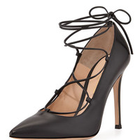 Gianvito Rossi Lace-Up Point-Toe Pump
