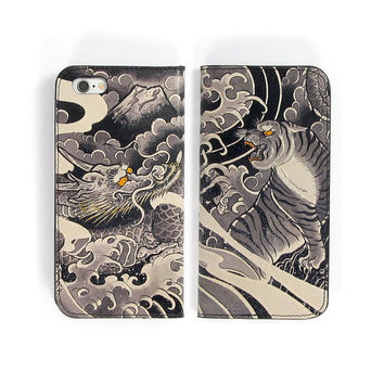 Leather Folio Phone Case - Tiger and Dragon Tattoo