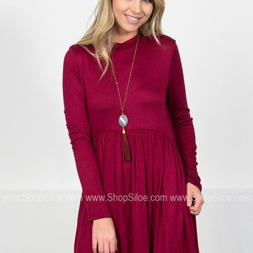 Bailey Pocket Peplum Dress | Wine