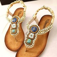 Beads Embellished Flat Sandals FAS060502