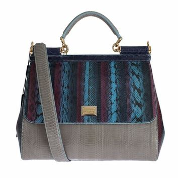Dolce & Gabbana Multicolor Caiman Snakeskin Leather SICILY Hand Bag