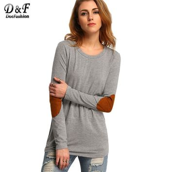 Dotfashion Female Elbow Patch Loose Tee Shirt 2017 Autumn Round Neck Casual Top Women Color Block Long Sleeve T Shirt