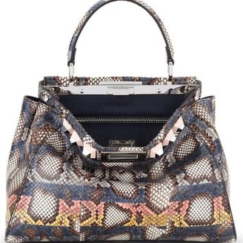 Fendi Medium Peekaboo Genuine Python Crossbody Bag | Nordstrom