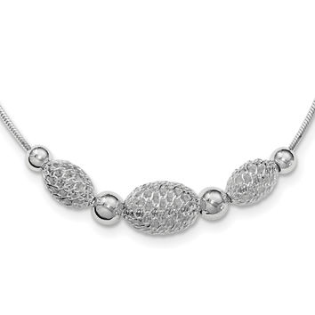 Sterling Silver Rhodium-plated Large Filigree Beads Fancy Chain Necklace QG3749
