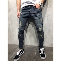 Mens Cool Designer Brand Pencil Jeans Skinny Ripped Destroyed Stretch