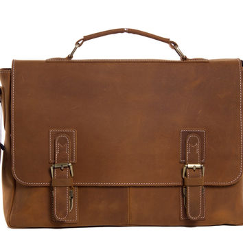 Manhattan Leather Briefcase in Light Brown