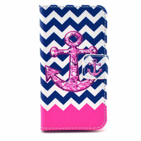 Chevron Anchor Leather Phone Wallet Case