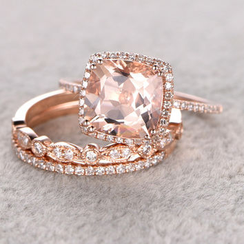 2.5 Carat Cushion Cut Morganite Wedding Set Diamond Bridal Ring 14k Rose Gold Art Deco Thin Eternity Band
