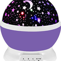 Baby Night Light Lamp Uinstone Moon Star Projector 360 Degree Rotation Romantic Rotating Cosmos Star Sky Moon Projector for Children Kids Bedroom - 9 Light Color Changing With 4.9 FT (1.5 M) USB Cable