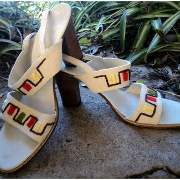 Vintage 60s Sandals Bohemian Amalfi Heels Canvas Embroidery Italy 6.5 N 6 1/2
