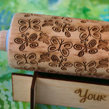 Butterfly design, Patterned Rolling pin -  laser engraved rolling pin, embossing rolling pin! by Everlasting Doodle