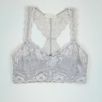 Racerback Lace Bralette in Grey