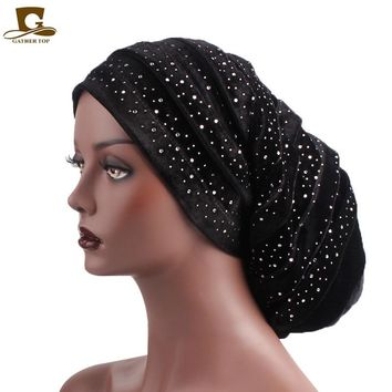 New diamante velvet ruffle turban dreadlock sleeping baggy hat for Hair Loss Bonnet Tube Comfortable Slouchy Hat Chemo Cap