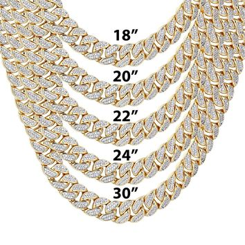 """9mm Closed Miami Cuban Links Iced Out 18-30"""" Chain"""