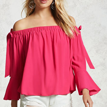 Off-the-Shoulder Bow Tie Top