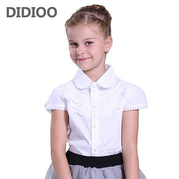 Big Girls White Blouse Cotton Lace School Girl Blouse For Girls Shirts Kids Clothes