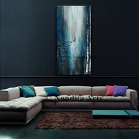 ABSTRACT LANDSCAPE PAINTING Blue modern birch tree art original artwork for living room, dining room, office and Lobby decor, gift for her
