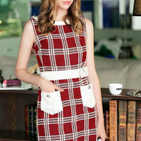 Red Plaid Sleeveless Fringed Mini Dress with Pocket