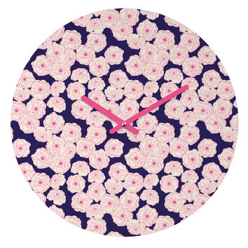Joy Laforme Floral Sophistication In Navy Round Clock
