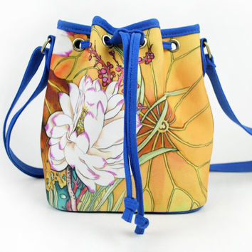 New Fashion Chinese Style Hand Floral Painted Bucket Women Shoulder Bag Canvas Crossbody Bag