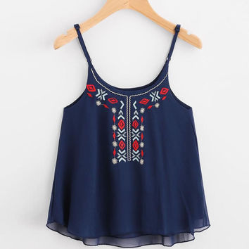O neck Floral Embroidery Chiffon Crop Top