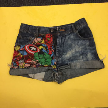 High Waisted Marvel Avengers Shorts ALL SIZES