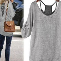 2 Pcs Gray Shirt and Black Tanks