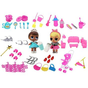 98pcs/Set Miniature Pretend Set Toys for Barbie Dolls Gifts Kids Furniture Play Food Kitchenware Clothes Shoes Dolls Kitchen