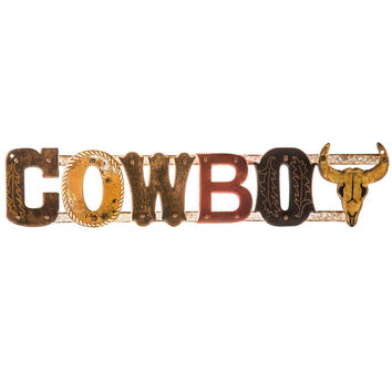 Cowboy Word Embossed Die Cut Tin Sign | Hobby Lobby | 1305713