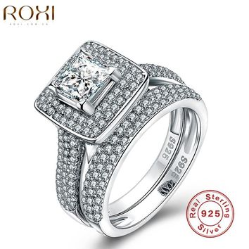 ROXI 925 Sterling Silver Jewelry Ring Fashion Wedding Engagement Ring Sets For Women Zircon Romantic Jewelry Bagues Femme 2017