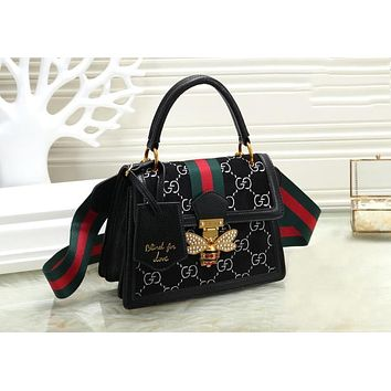 "Hot Sale ""GUCCI"" Fashion Women Leather Bee Pearl Handbag Tote Shoulder Bag Crossbody Satchel Black"