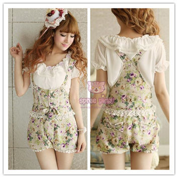 S-XL Kawaii Sweet Lace Knotbow Floral Strap Bloomer SP140545