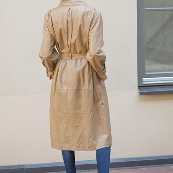 Women's Leather Trench Coat Camel Brown size M. Tan Leather Collared Coat Long. Vintage Leather Coat Belted Soft Leather. Retro Coat Sandy