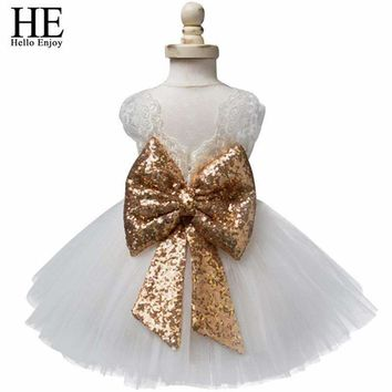 Baby girl dresses christening gown 2017 summer infants dress lace bow toddler baby princess birthday dress for baby girl clothes